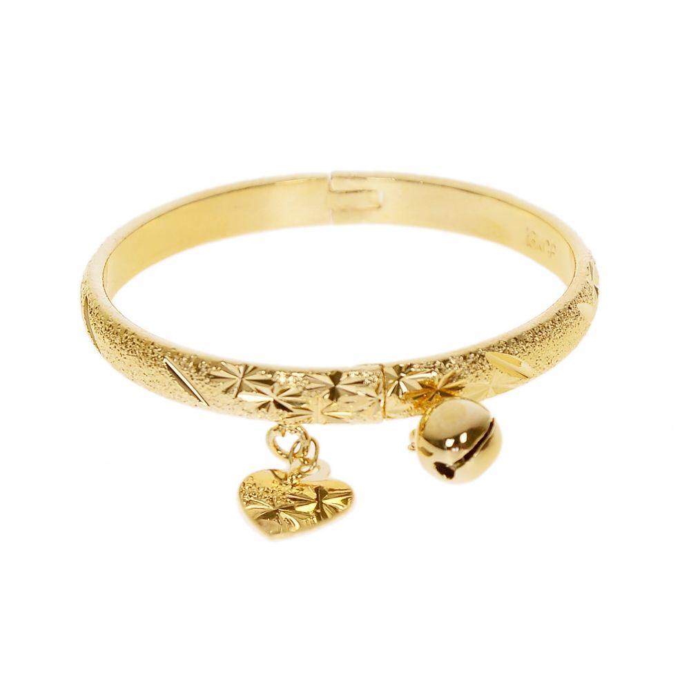 Gold Color Bell Heart Charm Bracelet Children Boys Girls Baby Kids ...