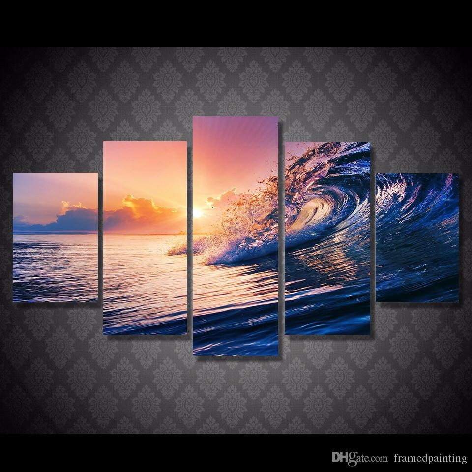 5 Pz / set Incorniciato HD Stampato Ocean Wave Blue Sea Sky Immagine Wall Art Canvas Print Decor Poster Pittura a olio della tela