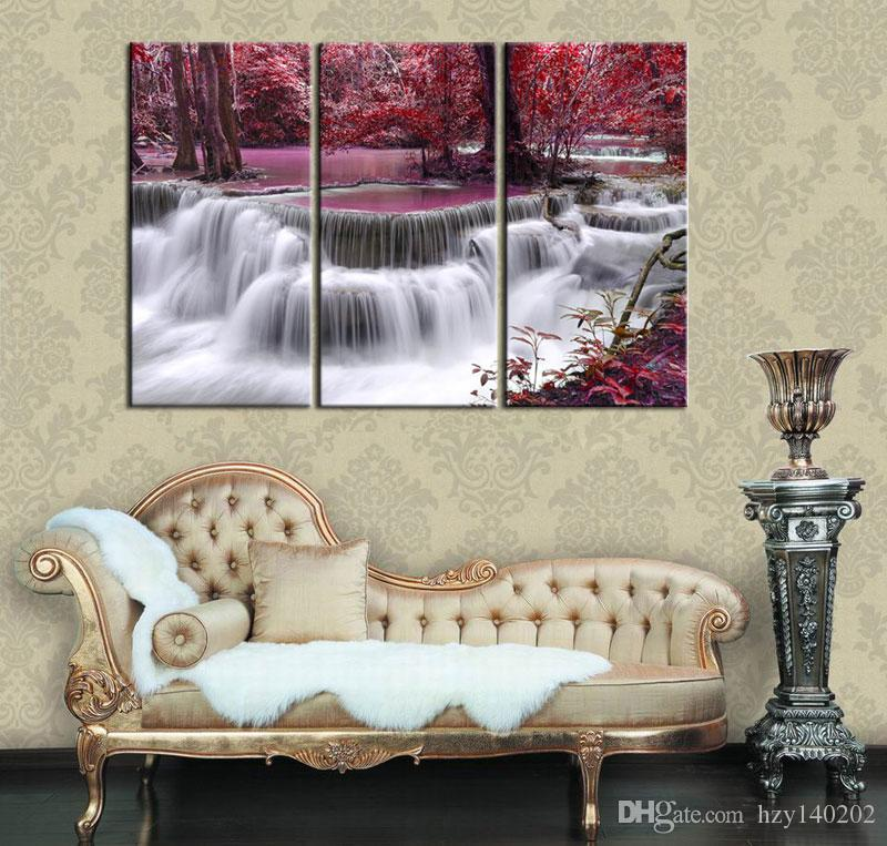 2019 Abstract Canvas Art Red Mysterious Waterfall Print On Canva