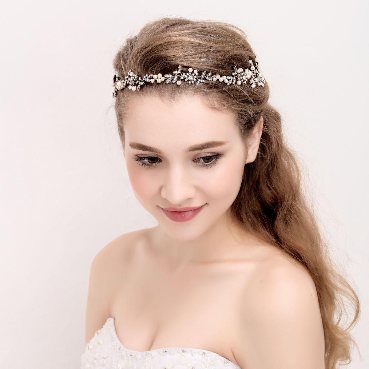 Antique Gold Bridal Headpiece Handmade Crystal Hair Vine Wedding Headband  Crown Vintage Women Party Prom Floral Hair Accessories Bridal Bracelets  Bridal ... cf921f455c0