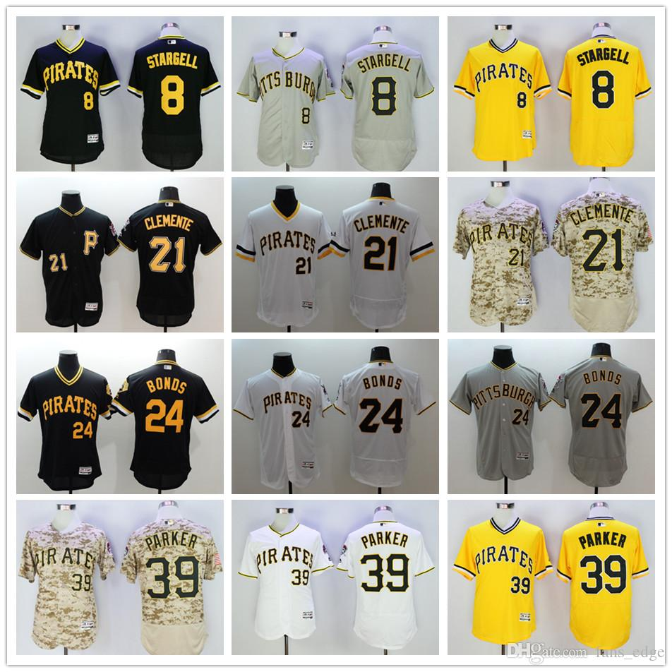 3538a005c10 2017 Throwback Pittsburgh Pirates 8 Willie Stargell 21 Roberto Clemente 24  Barry Bonds 39 Dave Parker Pirates 8 Willie Stargell Black 1979 Throwback  Jersey ...