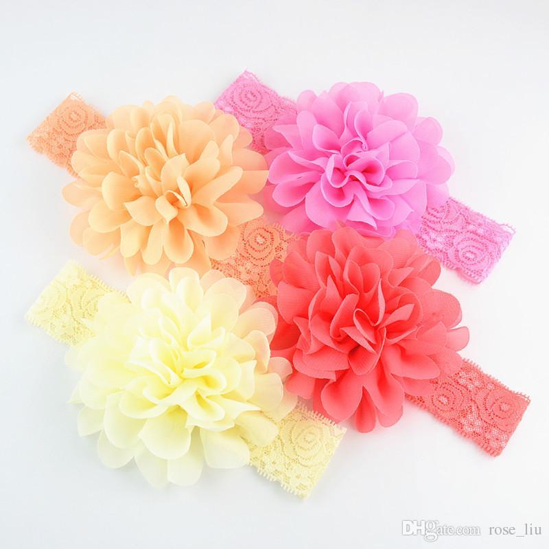 18 Renk Bebek Büyük Dantel Yay Bantlar hairband Kızlar Sevimli Yay Saç Bandı Bebek Güzel Headwrap Çocuk Ilmek Elastik Aksesuarları B