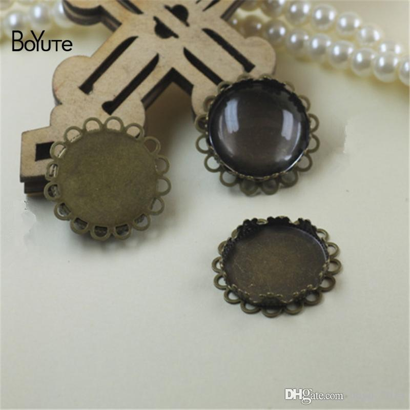 BoYuTe Round 20MM Hot sale Cameo Cabochon Base Setting Diy Blank Tray Bezel Jewelry Accessories Parts