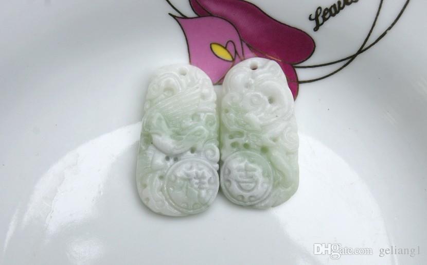 Jade blanco y verde. amuleto En extremadamente buena fortuna buena fortuna collar colgante