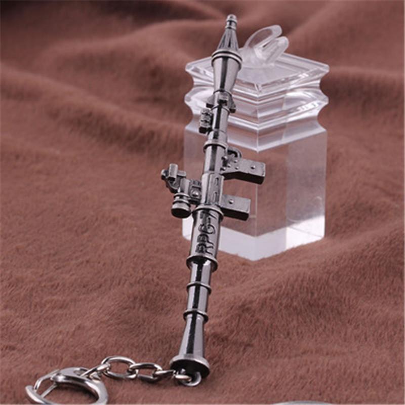 Cross Fire RPG-7 Weapon Simulate Rocket Launcher Keychain Aleación llaveros Llavero de coches CF Joyería para regalo