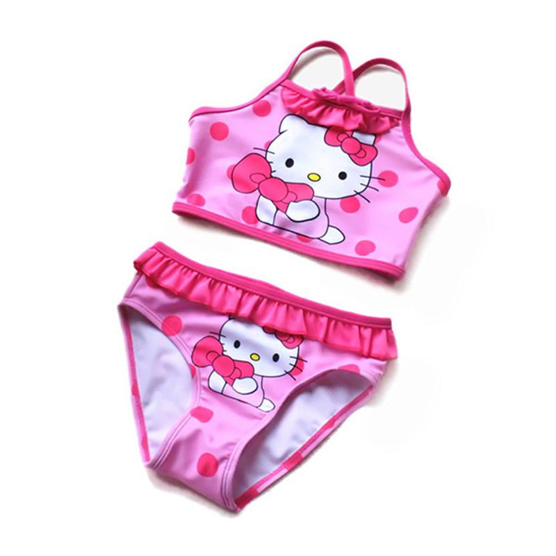 Girls Swimwear New 2016 Summer Style Hello Kitty Bikini For Children Swimsuit Kids Tankini Bathing Suit Beachwear SW104-CGR1