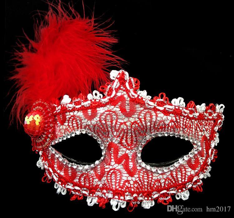 새로운 절묘한 레이스 라인 석 가죽 할로윈 메이크업 댄스 마스크 반 얼굴 가죽 레이스 꽃 수면 마스크