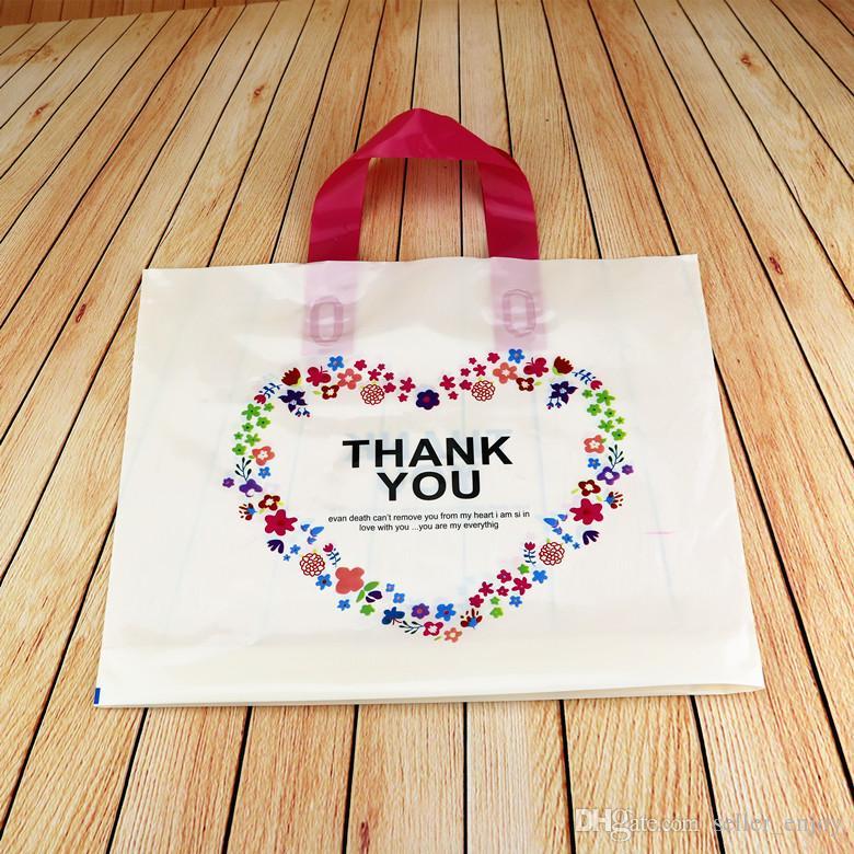 sacs-cadeaux en plastique sourire merci couleur Fleur Imprimé Coeur forme Transparent Pochettes en plastique transparent pour bijoux Vêtements cadeau