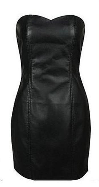 a119a270e07 2019 Wholesale Sexy Black Faux Leather Pencil Bodycon Boob Prom Tube  Strapless Mini Dresses 6XL Plus Size Womens Shapewear From Humphray