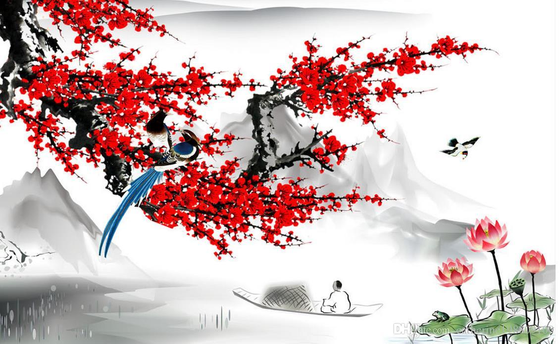modern wallpaper for living room Chinese style plum blossom ink painting wall modern wallpaper for living room