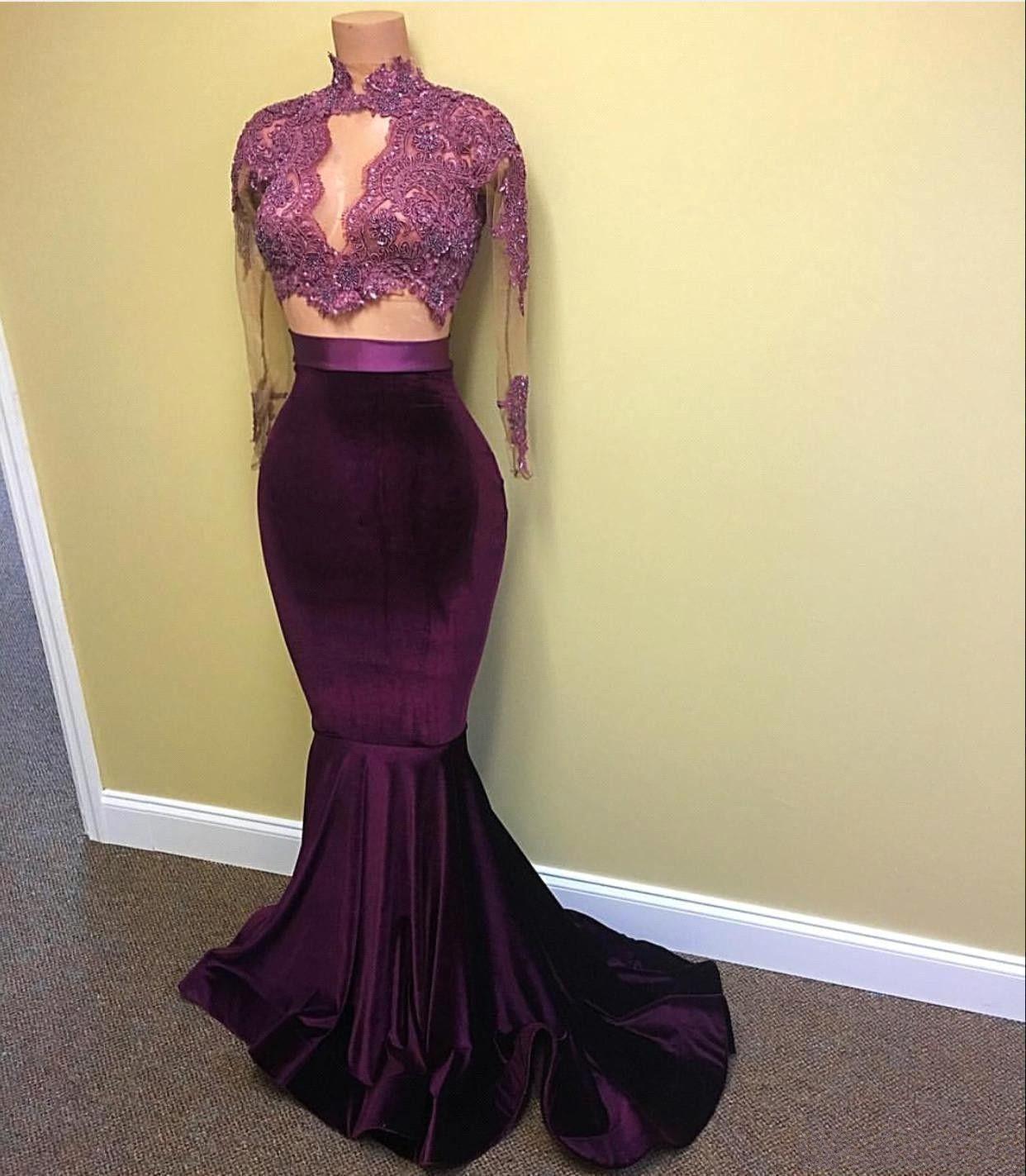2017 Elegant Burgundy Grape Mermaid Prom Dresses High Neck Long ...