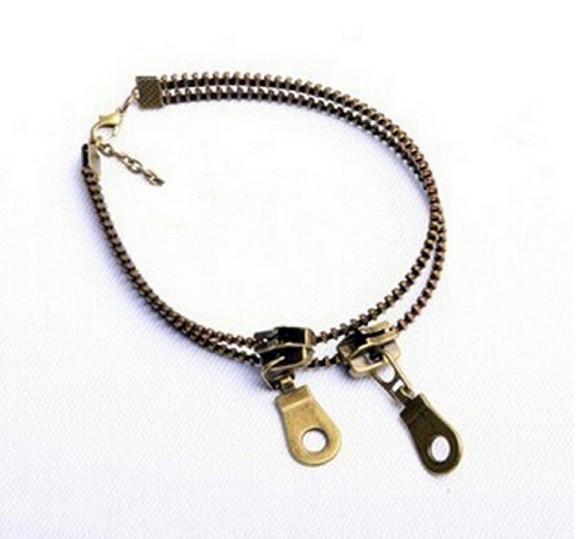 Women Ankle Chain Vintage Punk Metal Jewelry Unique Zipper Design Anklet Bracelet Ladies Accessories Womens Jewelry