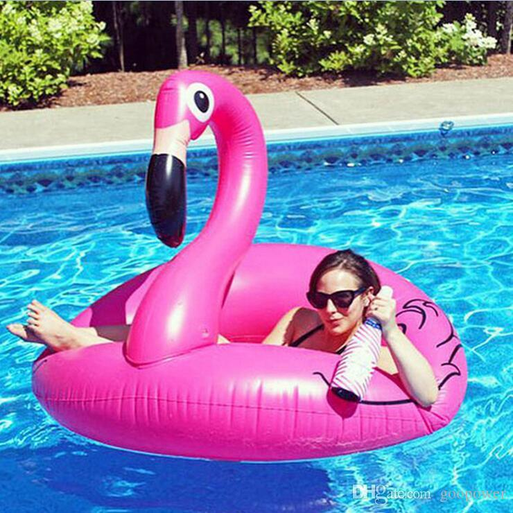 Oisk giant 2 person inflatable flamingo swimming pool for Huge inflatable swimming pool