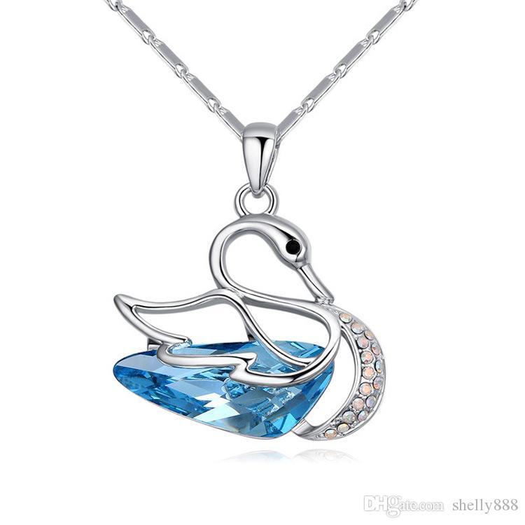 Фантазии Лебедь высокого класса кулон с использованием SWAROVSKI Красный красоты Кристалл ожерелье, Европа и Америка ветер украшения HX089