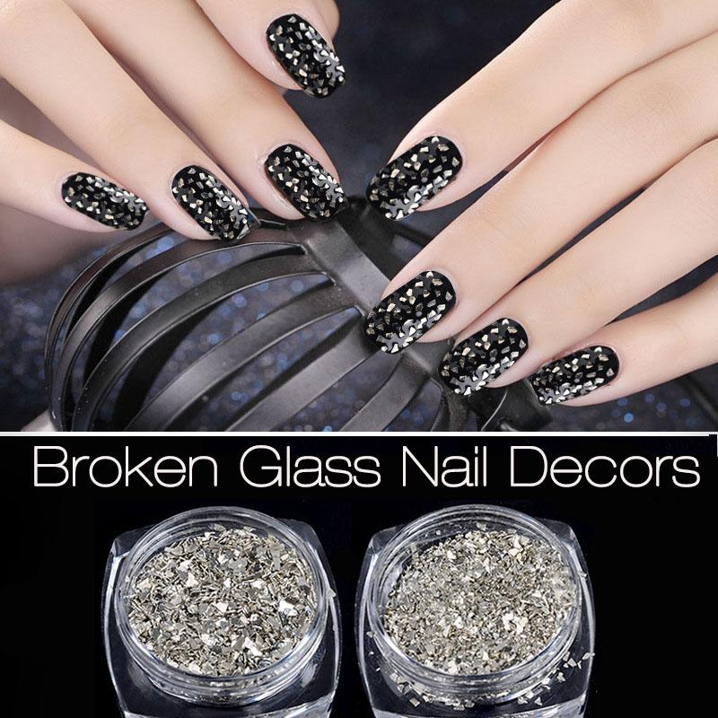 New Nail Art Glitters Powders 5g/Box Silver Irregular Broken Glass ...