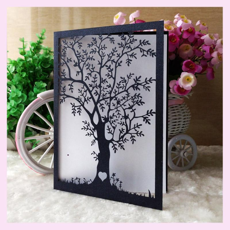 4772dedf7d Wholesale-20pcs/lot White Gold Tiffany Blue Wedding Celebration Birthday  Party Invitation Card Delicate Laser Cut Carved Love Tree Design