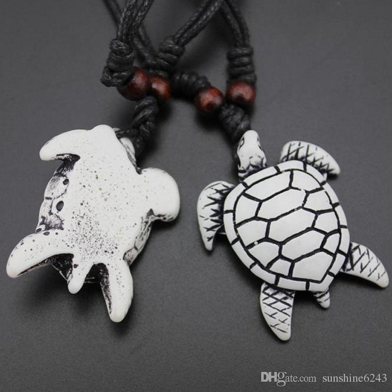 Atacado Fresco Imitação Yak Osso Carving Havaiano Surf Tartarugas Marinhas Pingente De Madeira Beads Cord Colar Sorte Presente