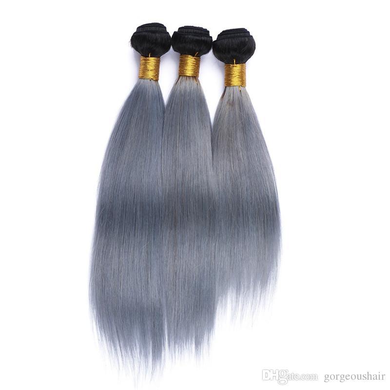 1B / Gümüş Gri Ombre İnsan Saç Dokuma Koyu Kök Ombre Saç Uzantıları Gri Ombre Düz Bakire Iki Ton Saç Atkılar 3 Demetleri