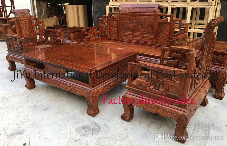2018 Hom Sofa Sets 113 Living Room Wood Furniture Landscape Throne 100 African Rosewood Chinese