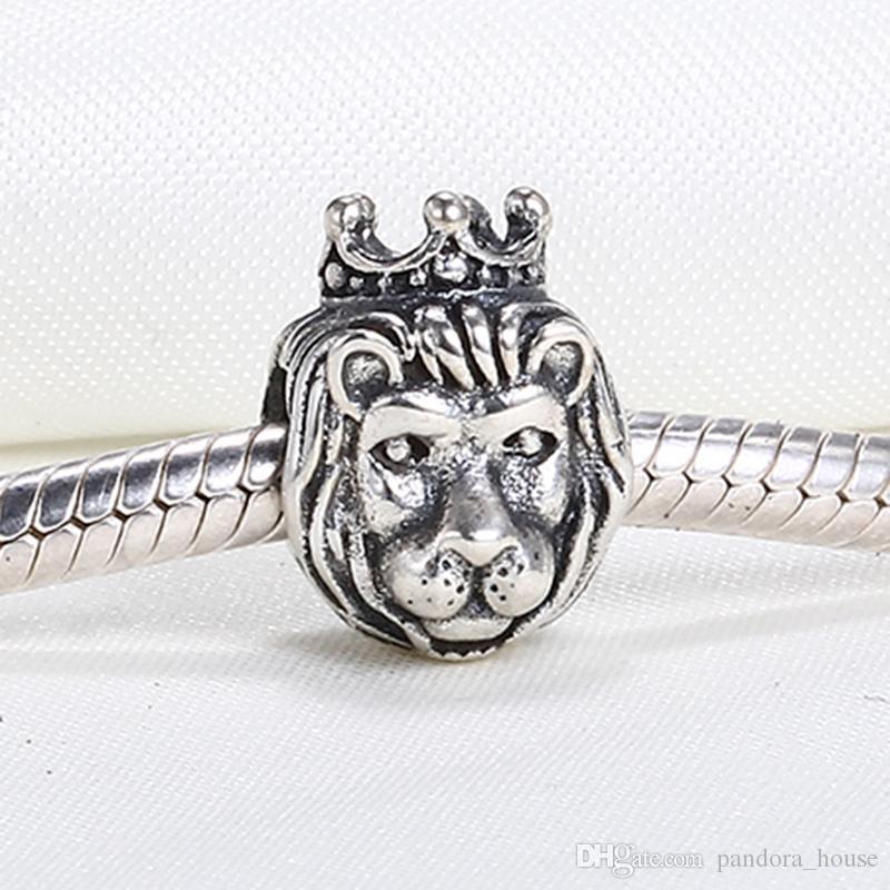 Vente en gros réel 925 Sterling Argent non plaqué Tiger Prince Prince Européenne Charms Perles Fit Pandora Snake Chain Chaîne Bracelet DIY Bijoux