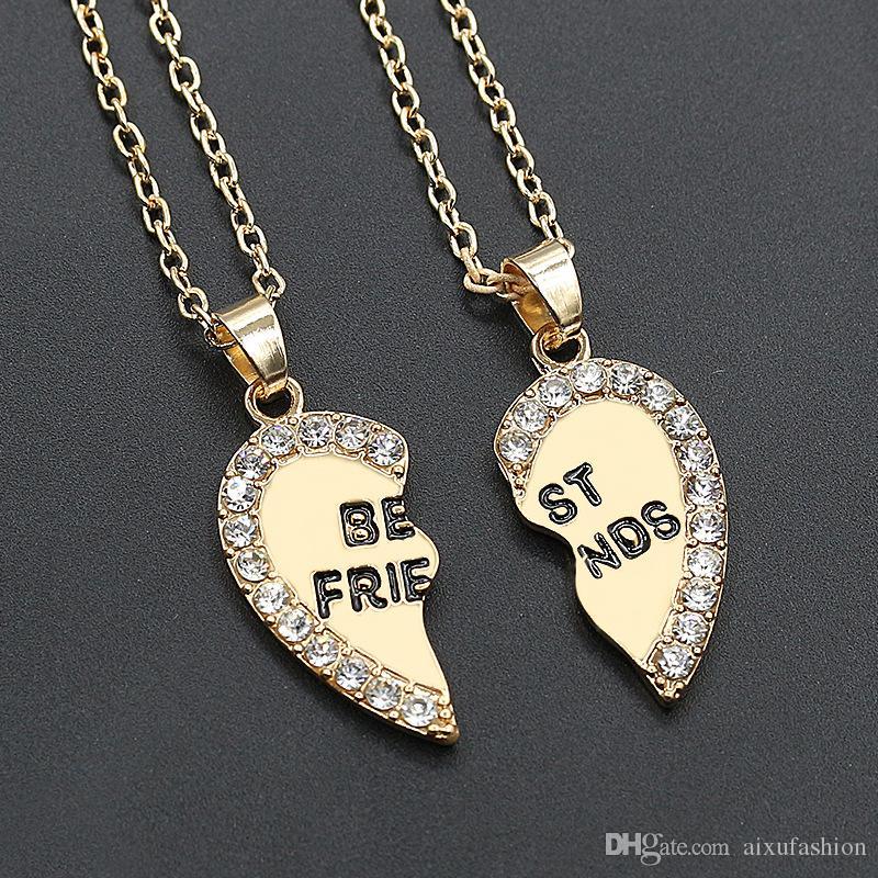 Amour Coeur Pendentif Collier De Mode Deux Rabat Alliage Diamant Meilleurs Amis Colliers Vente Chaude De Bons Amis Colliers Pendentifs