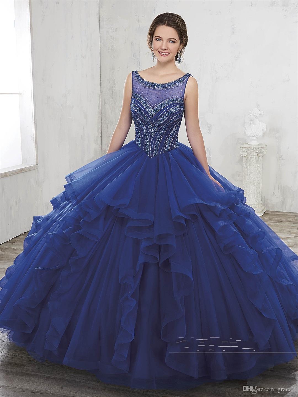 831a360bec Compre Vestido 15 Años 2017 Vestidos De Quinceañera Azul Real Con Gran  Blusa De Rebordear Y Volantes Falda Vestido De Bola Vestido Dulce 15 Rojo  Oscuro A ...