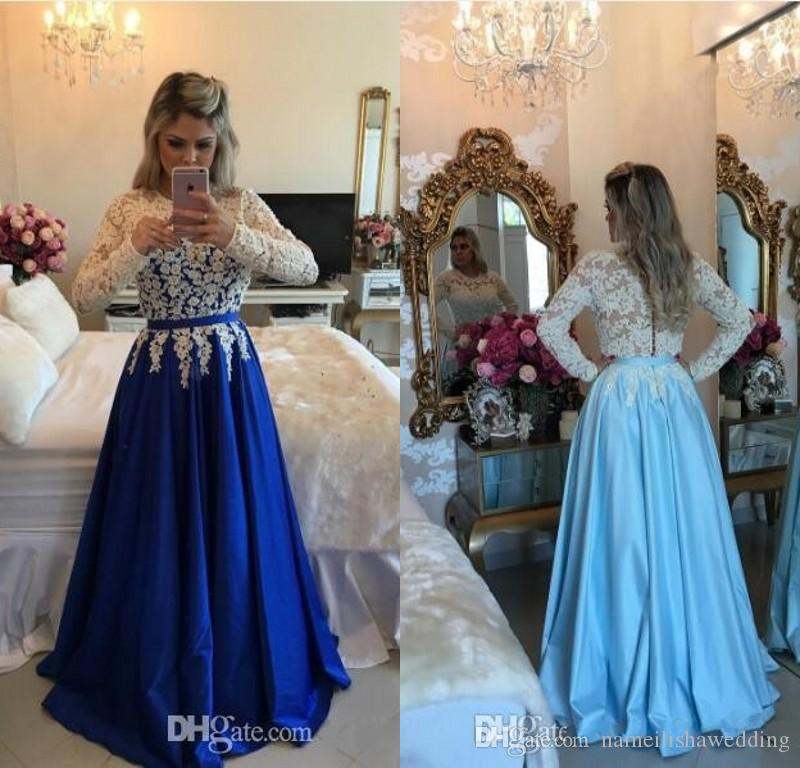 Ivory Lace Top Prom Dresses Blue Satin Long Sleeves Beaded Party ...