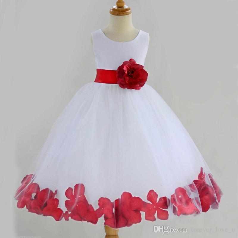 2ceb5c29fcd4 Lovely White And Red Flower Girl Dress Jewel Neck Sleeveless Flowergirl  Dresses With Sash Petals Tea Length Kids Dress For Weddings Dress For Girls  Simple ...