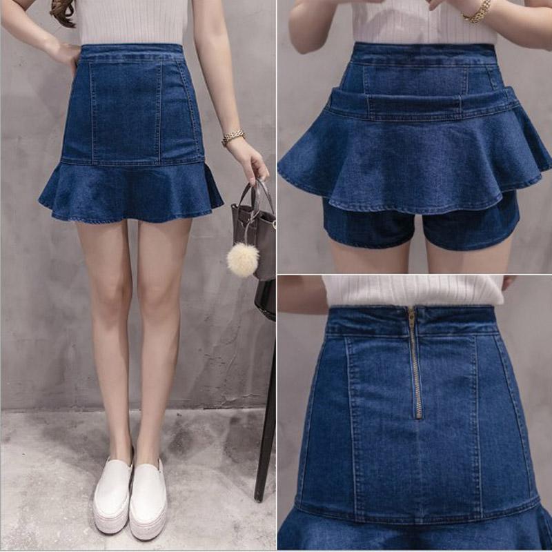 bbfb3fefaee Summer Fashion Slim Mermaid Skirt Solid Blue High Waist Mini Denim Skirt  Double Ruffles Women Short Jeans Skirt Saia Women Skirt Skirt for Girl  Short Skirt ...