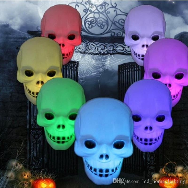6pcs/lot New Colorful xmas holiday LED Little skull head Night Light Decoration Candle Lamp Nightlight great gift for kids