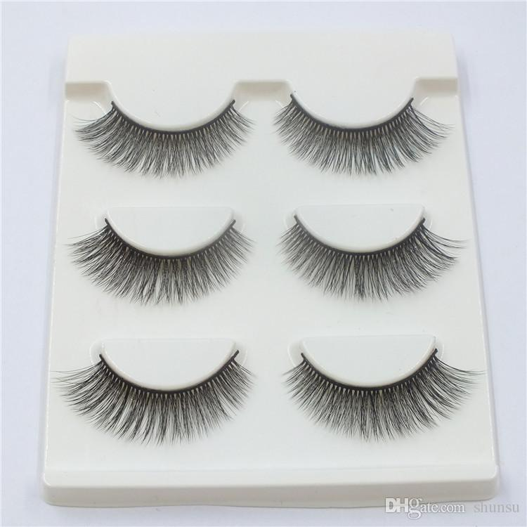 D18 Natural Long Handmade Fake Eyelashes High Quality Soft Cotton Thread Stems Thick False Eyelashes Cross Messy Makeup Eye Lashes