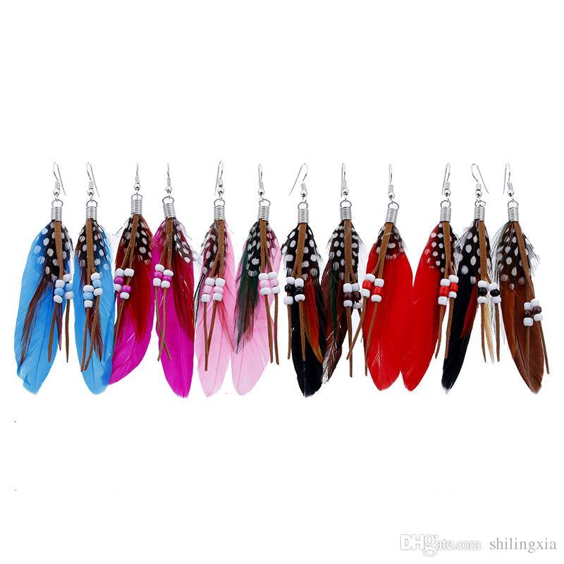 Women Feather Earrings Colorful Pierced Dangle Bead Earring Fashion Ladies Girls Good Jewelry Bohemia Style Dangle & Chandelier