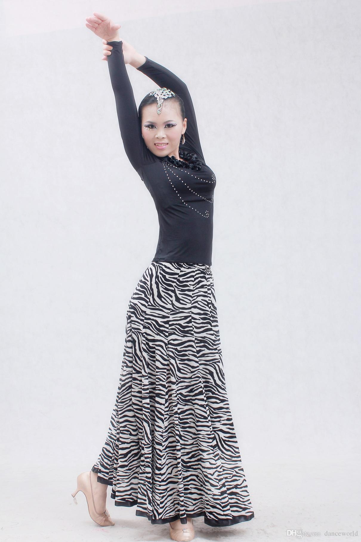 2019 tarzı balo salonu büyük salıncak leopar modern dans kostümleri flamenko etek balo salonu dans etekler kadın balo etek tango vals etek