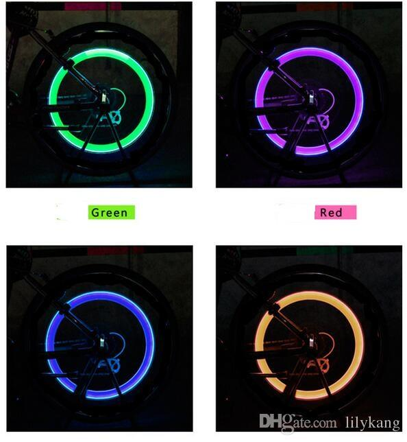 Firefly Bicycle sense of shock color gas nozzle lights Spoke LED Wheel Valve Stem Cap Tire Neon Light Lamp For Bike Bicycle Car Motorcycle