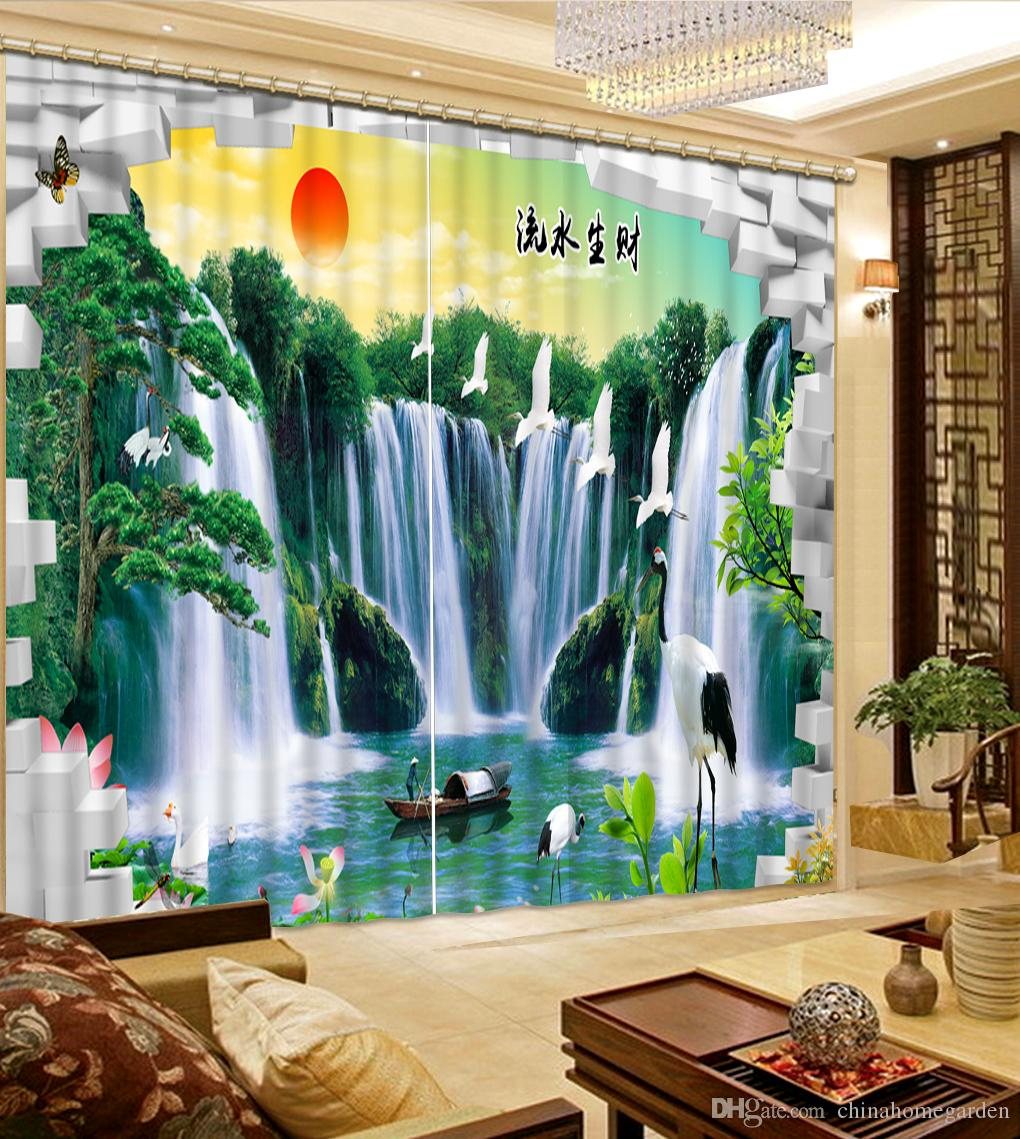 2017 Classic Home Decor Waterfall Nature Scenery Bedroom Blackout ...