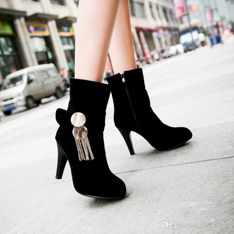 Nuevo 2017 botas cortas finas con botas de tacón alto heladas de Martin impermeables Taiwán botas femeninas yardas grandes