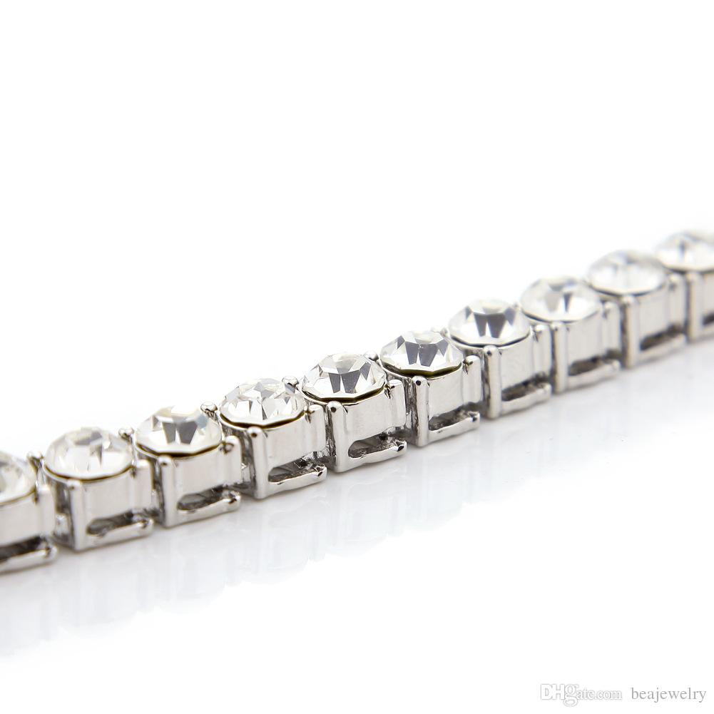 Mens Silver Gold Iced Out Crystal 1 Row 8mm*30inch Tennis Chain Hip Hop Bling Steampunk Necklace