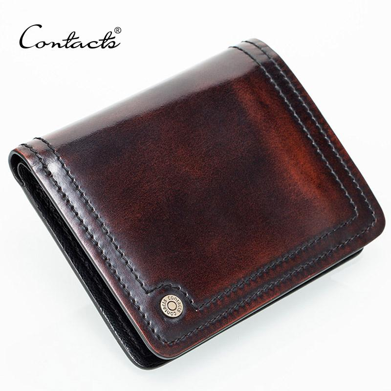 0e557845198c Wholesale- CONTACT S Small Leather Wallet Men Handmade Burnished Italy  Leather Purse Photo Holder Holders Purse Brand Designual