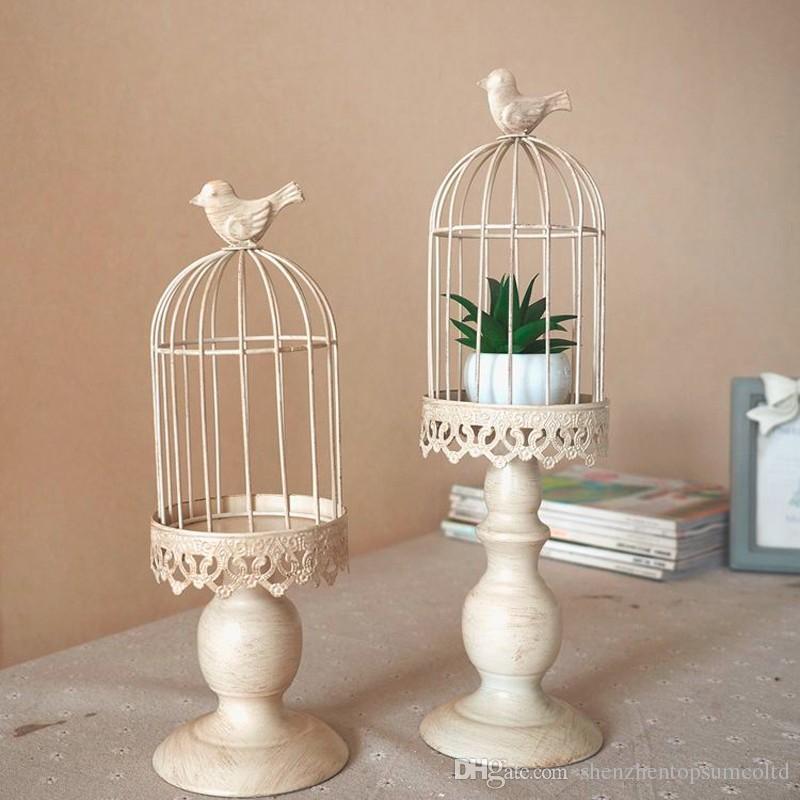 Nuevo diseño porta velas ventas de fábrica europa jaula de pájaros linterna Continental Iron Candle Holders boda casa candelabro freeship
