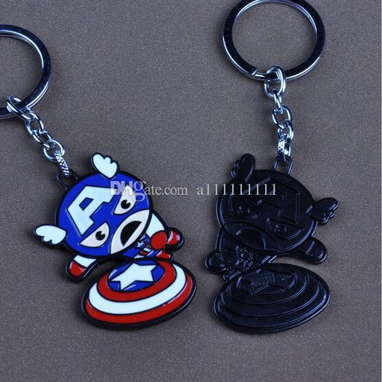 New Hot Captain American Key Chain Superhero Pendant Alloy Cartoon Key Ring Cute For Kids 2 Styles