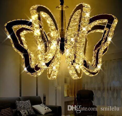 lusso K9 farfalla LED plafoniera moderna lampada a sospensione in cristallo  Per soggiorno luci camera da letto ristorante lampada Lampadari interni ...