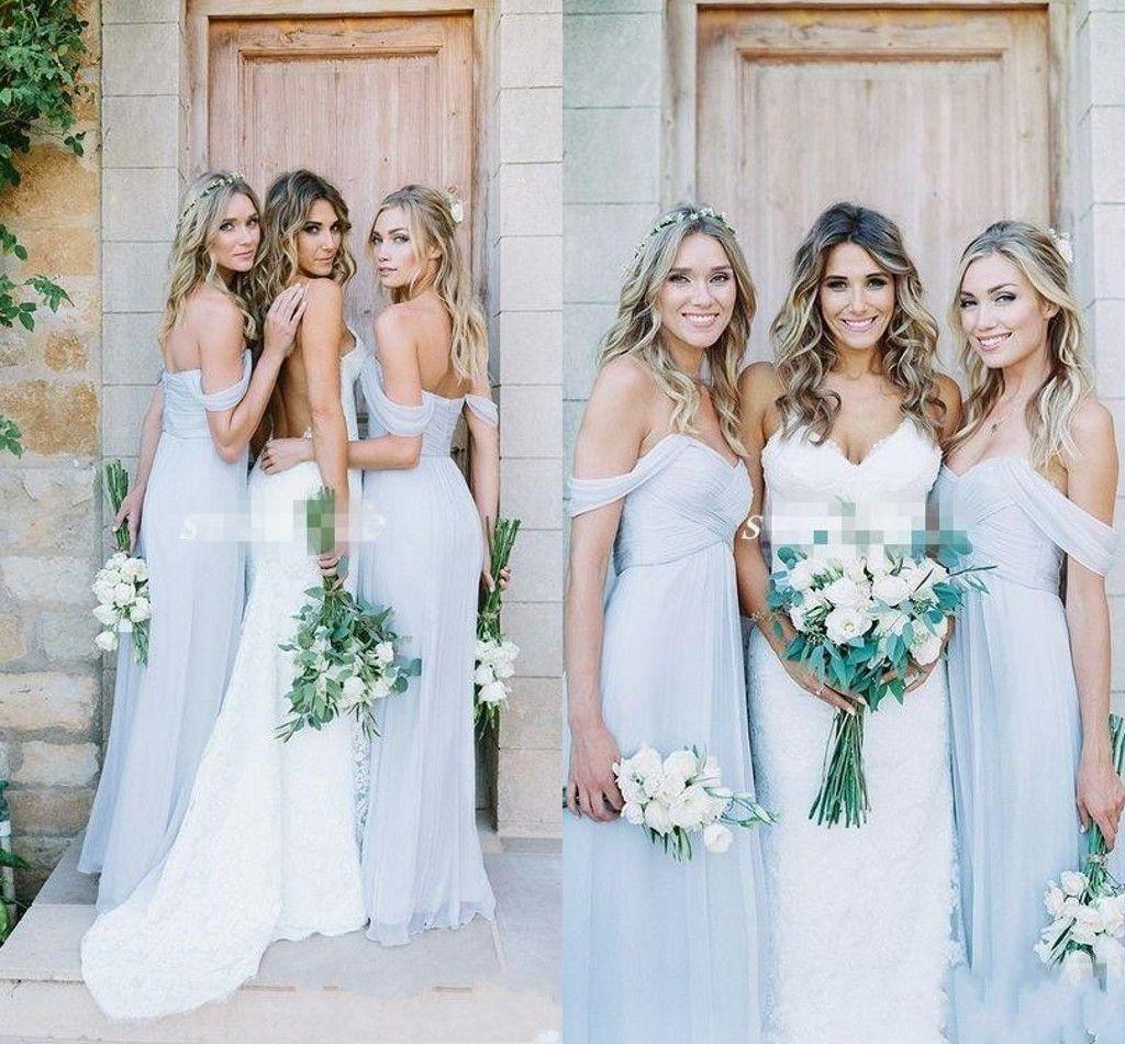 Sale Pleats Sky Blue Bobo Bridesmaid Dresses With Cap