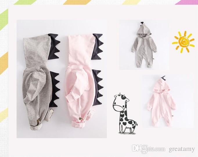 Baby-Dinosaurier-Spielanzug-lange Hülse mit Kapuze Zweiwege Reißverschluss Overalls Karikaturkinder, die Kleidung klettern, kleidet Babykleidung hochwertig