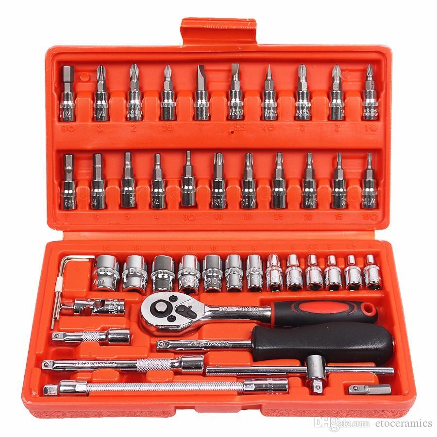 자동차 수리 도구 1 / 4 인치 소켓 세트 자동차 수리 도구 래칫 토크 렌치 콤보 도구 키트 자동 복구 도구 세트