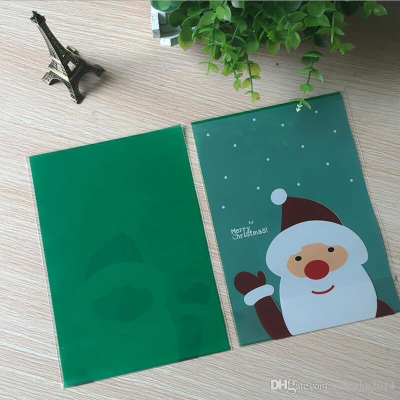 400pcs / lot OPP DIY Stand Up Pouch Christmas Santa And Penguin Partten Gift Pack Bag Cookie и Candy Plastic Bags