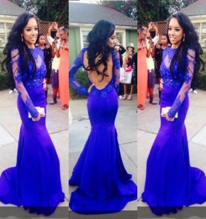 Kraliyet Mavi Dantel Gelinlik Modelleri Ince Gömme Sheer Uzun Kollu Abiye giyim Seksi Backless Mermaid Açık Backless Örgün Parti Elbiseler