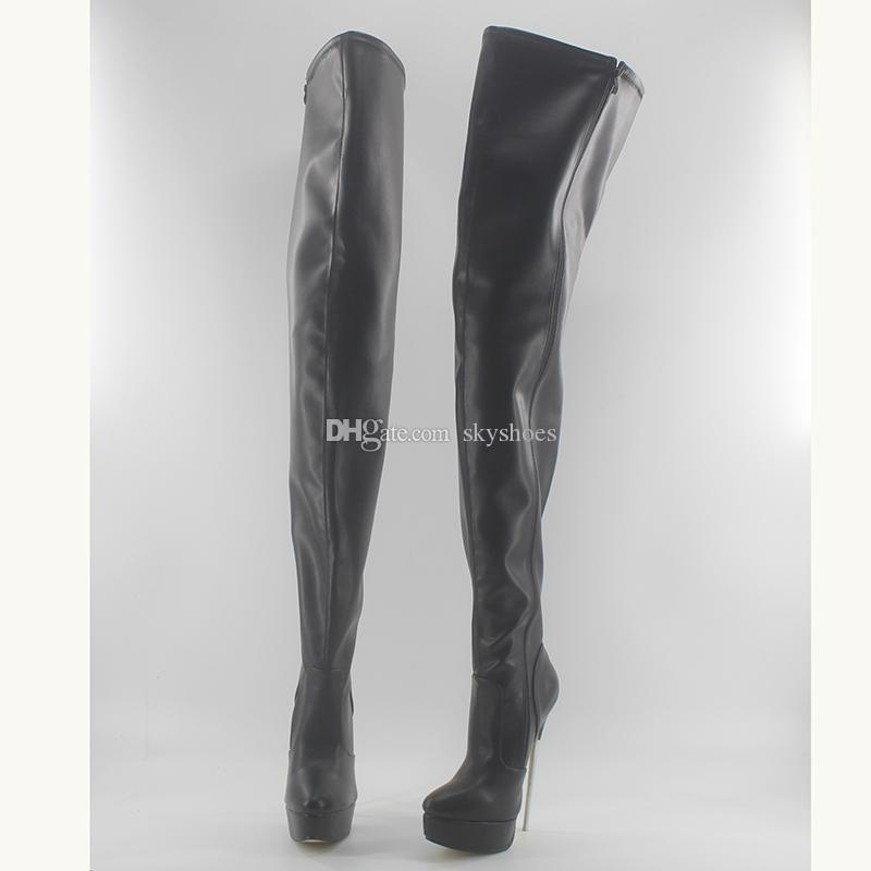Wonderheel heiße schwarze Matte 18cm Spike Ferse sexy Fetisch Frauen Oberschenkel hohe Stiefel aus weichem Leder Mode Plattform Schritt Stiefel