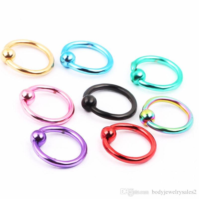 Trasporto libero commerci all'ingrosso 100 pz / lotto mix i 16G acciaio inossidabile corpo gioielli CBR anello sopracciglio banana bar naso anelli