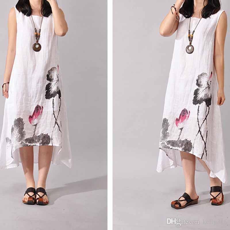 summer dresses for women embroidered cotton linen plus size women