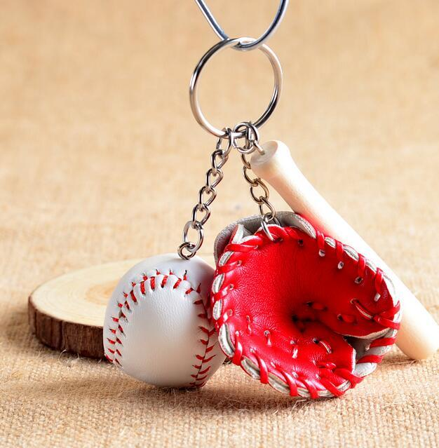 Ball Key Ring Baseball Gloves Wooden Bat Bag Keychains Key Chain Ring Cartoon Pendant Keychain Best Christmas Gift DHL Free